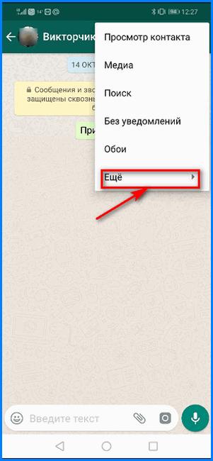 Активация контекстного меню Еще в чате WhatsApp