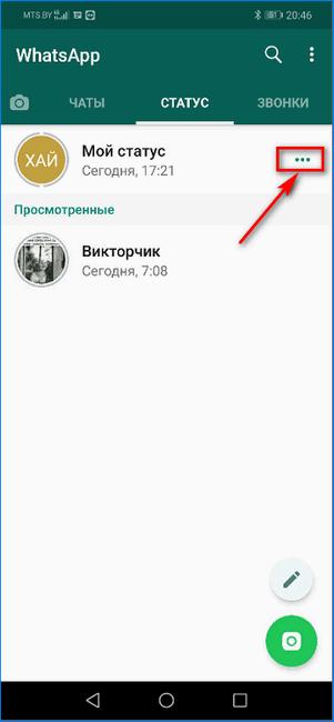 Вход в настройки личного статуса WhatsApp