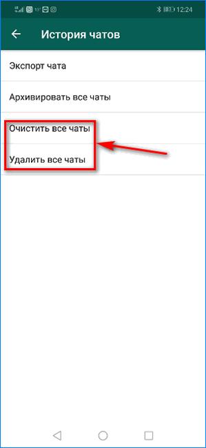 Выбор варианта удаления чатов WhatsApp