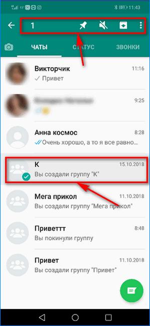 Выбор группового чата в WhatsApp