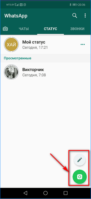 Выбор типа создаваемого статуса WhatsApp