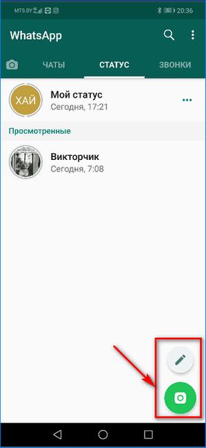 Выбор типа создаваемого статуса WhatsApp