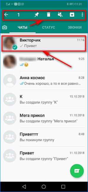 Выбор чата для удаления в WhatsApp