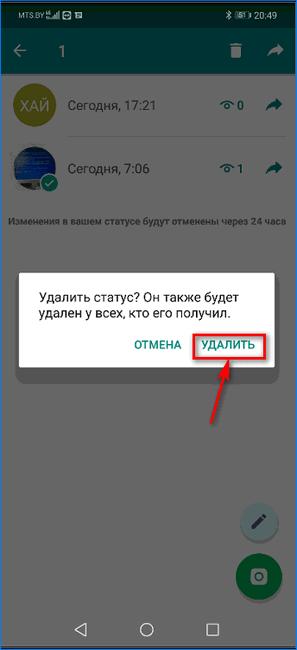 Диалог удаления статуса в WhatsApp