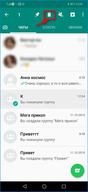 Кнопка удаления группового чата WhatsApp