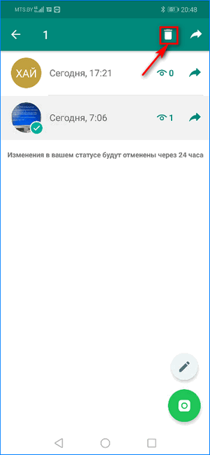 Кнопка удаления статуса в WhatsApp