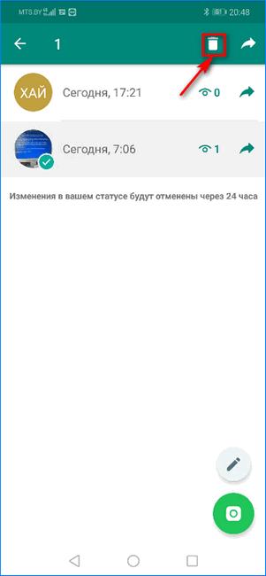 Кнопка удаления статуса в WhatsApp