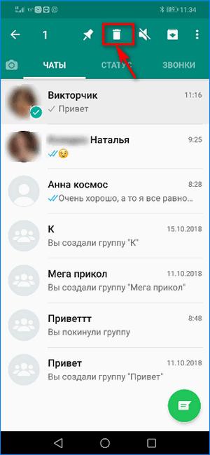 Кнопка удаления чата WhatsApp