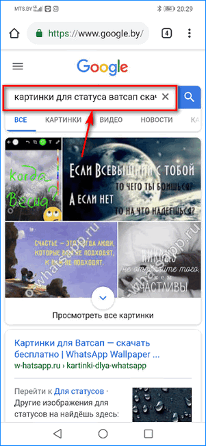 Поиск картинок для статуса WhatsApp