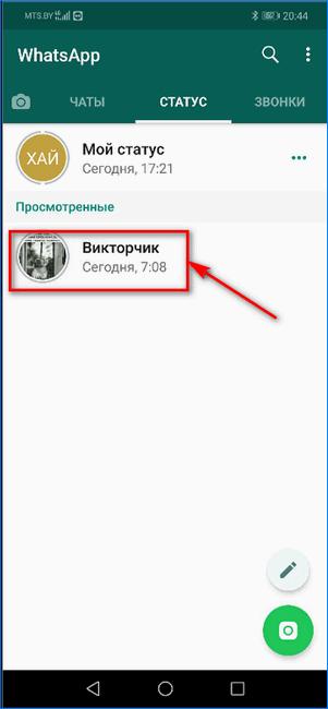 Просмотр статуса другого пользователя в WhatsApp