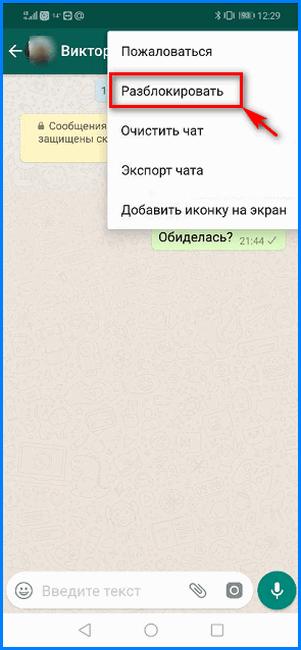 Разблокировка пользователя через меню чата WhatsApp