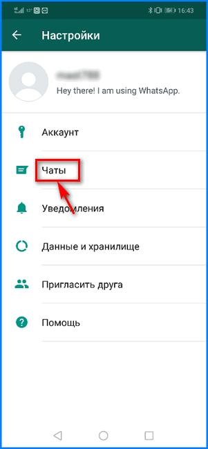 Вход в опции чатов WhatsApp