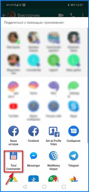 Выбор приложения в WhatsApp