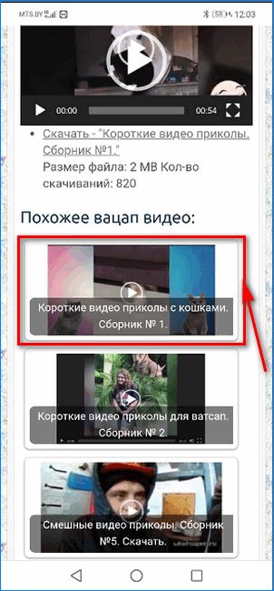 Выбор ролика для скачивания и передачи в WhatsApp