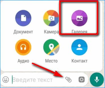 Выбрать файл из галереи Whatsapp