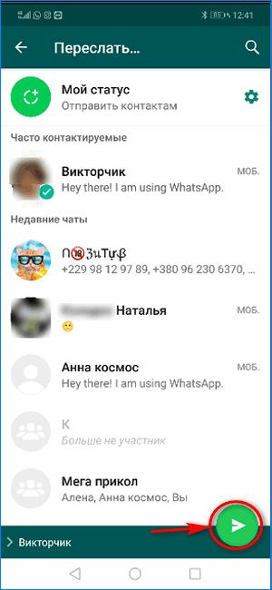 Кнопка передачи видео контакту из публичного чата WhatsApp