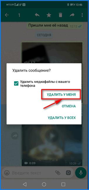 Подтверждение удаления ролика из чата WhatsApp