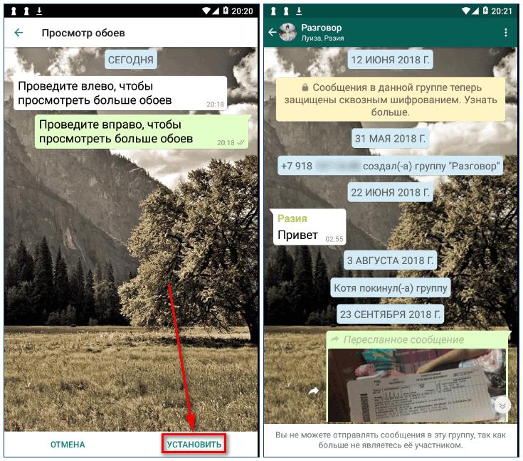 Установка обоев из WhatsApp Wallpaper